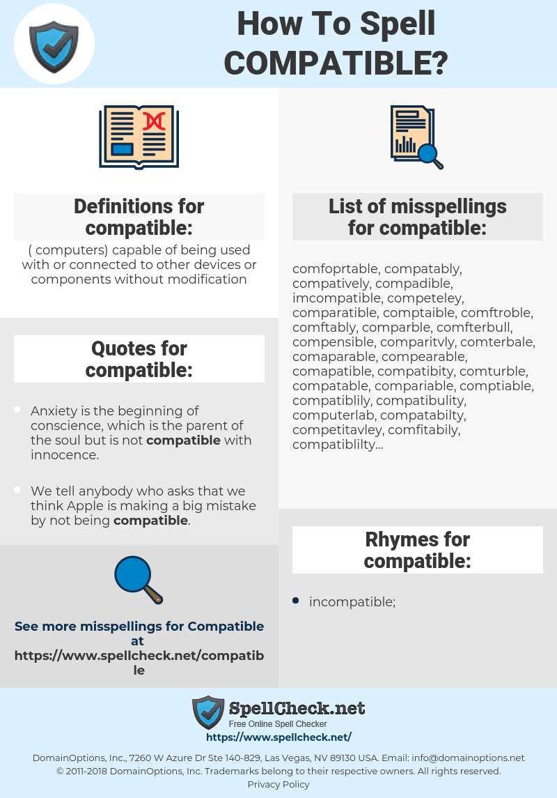compatible, spellcheck compatible, how to spell compatible, how do you spell compatible, correct spelling for compatible