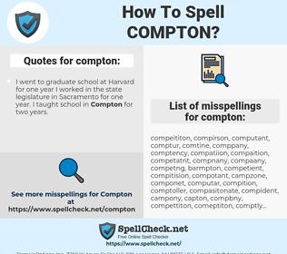 compton, spellcheck compton, how to spell compton, how do you spell compton, correct spelling for compton