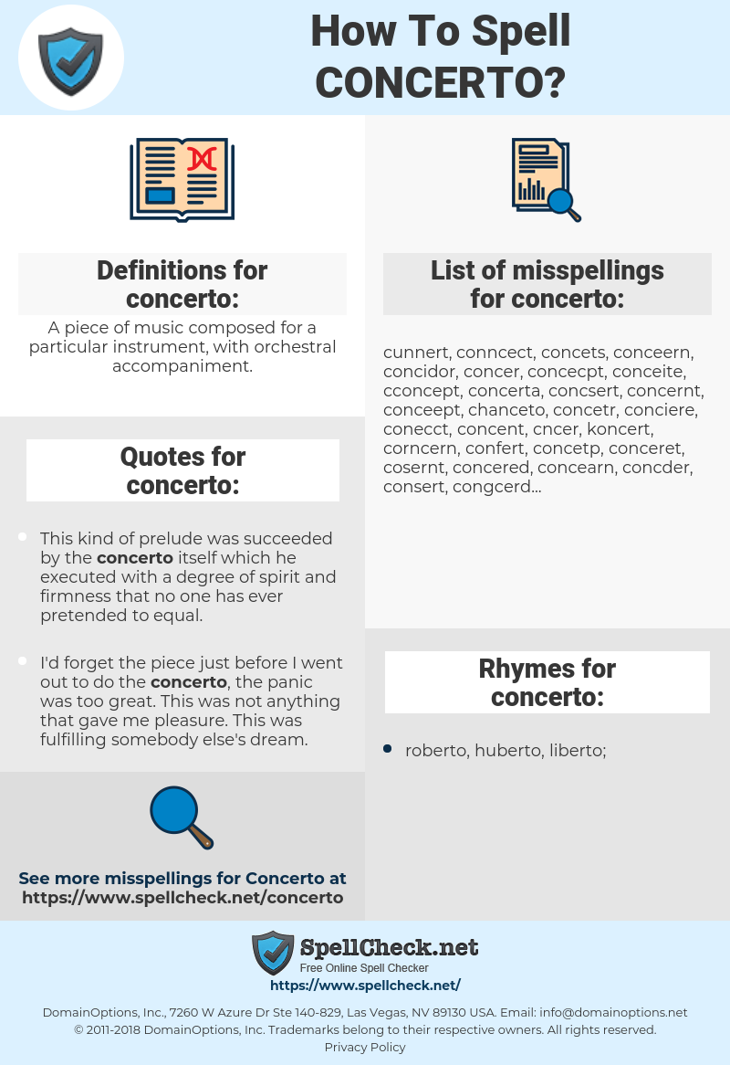 concerto, spellcheck concerto, how to spell concerto, how do you spell concerto, correct spelling for concerto