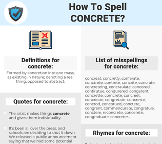 concrete, spellcheck concrete, how to spell concrete, how do you spell concrete, correct spelling for concrete