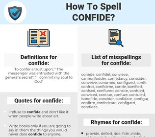 confide, spellcheck confide, how to spell confide, how do you spell confide, correct spelling for confide