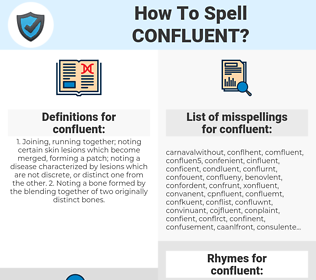 confluent, spellcheck confluent, how to spell confluent, how do you spell confluent, correct spelling for confluent