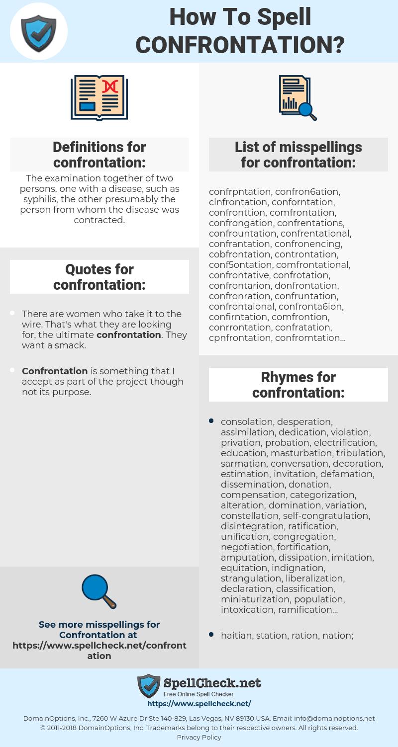 confrontation, spellcheck confrontation, how to spell confrontation, how do you spell confrontation, correct spelling for confrontation