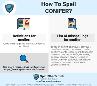 conifer, spellcheck conifer, how to spell conifer, how do you spell conifer, correct spelling for conifer