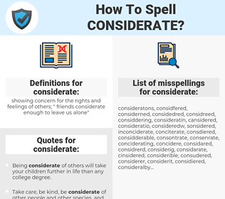 considerate, spellcheck considerate, how to spell considerate, how do you spell considerate, correct spelling for considerate
