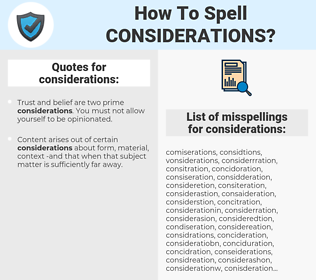 considerations, spellcheck considerations, how to spell considerations, how do you spell considerations, correct spelling for considerations
