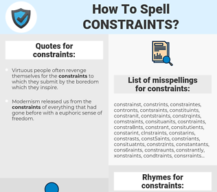constraints, spellcheck constraints, how to spell constraints, how do you spell constraints, correct spelling for constraints