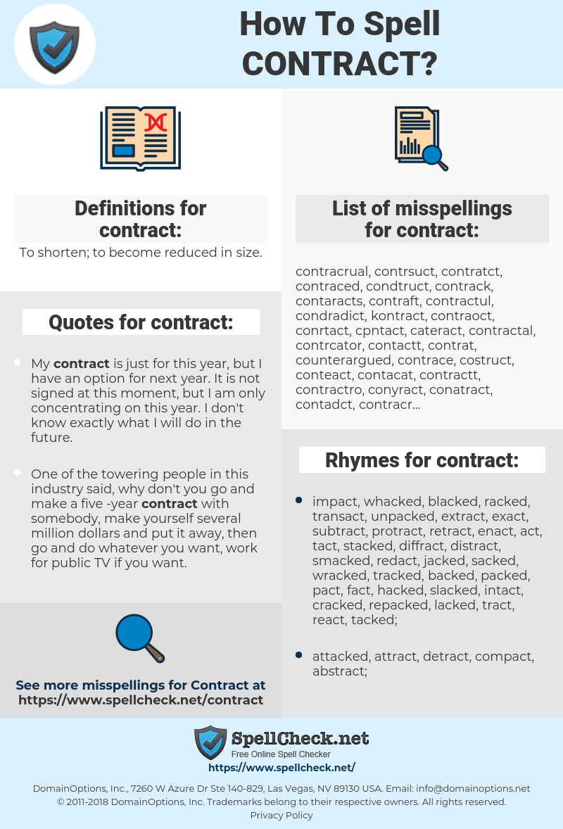 How To Spell Contract (And How To Misspell It Too) | Spellcheck net