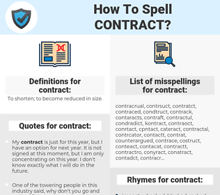 contract, spellcheck contract, how to spell contract, how do you spell contract, correct spelling for contract