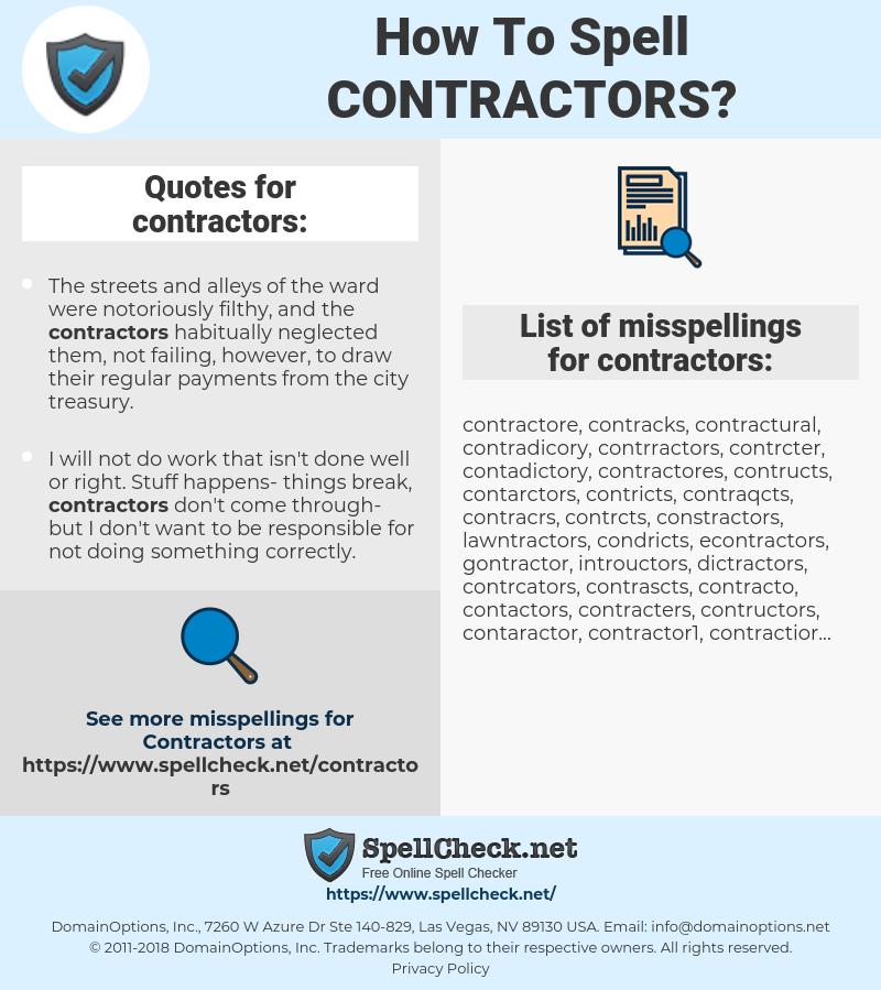 contractors, spellcheck contractors, how to spell contractors, how do you spell contractors, correct spelling for contractors