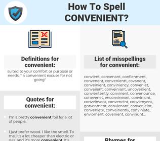 convenient, spellcheck convenient, how to spell convenient, how do you spell convenient, correct spelling for convenient