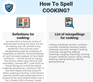 cooking, spellcheck cooking, how to spell cooking, how do you spell cooking, correct spelling for cooking