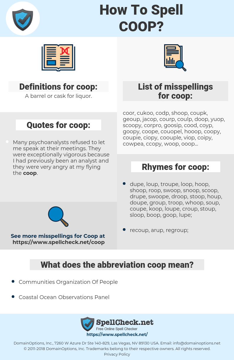 coop, spellcheck coop, how to spell coop, how do you spell coop, correct spelling for coop