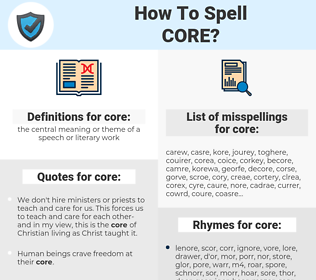 core, spellcheck core, how to spell core, how do you spell core, correct spelling for core