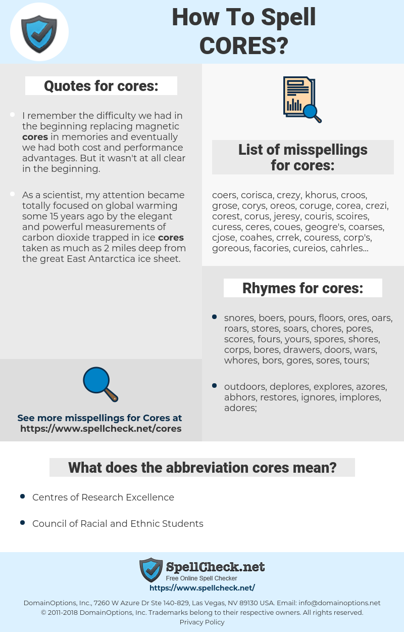 cores, spellcheck cores, how to spell cores, how do you spell cores, correct spelling for cores