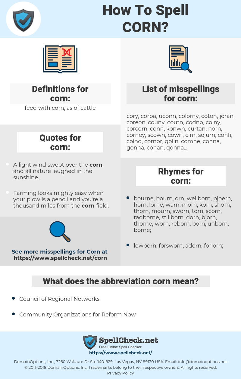 corn, spellcheck corn, how to spell corn, how do you spell corn, correct spelling for corn