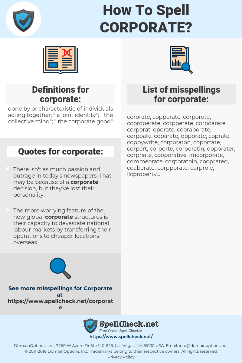 corporate, spellcheck corporate, how to spell corporate, how do you spell corporate, correct spelling for corporate