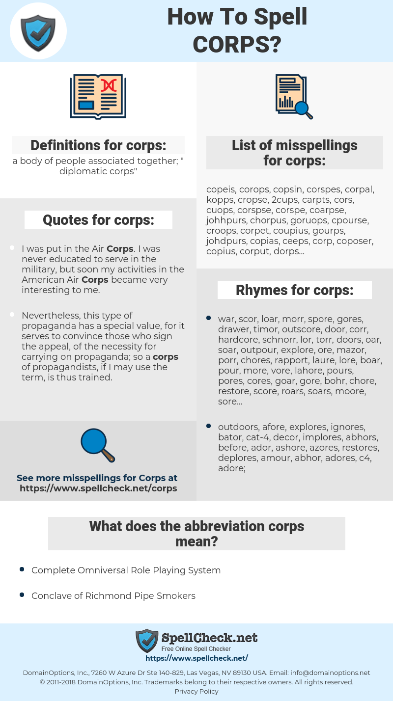 corps, spellcheck corps, how to spell corps, how do you spell corps, correct spelling for corps