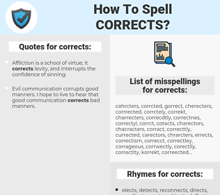corrects, spellcheck corrects, how to spell corrects, how do you spell corrects, correct spelling for corrects