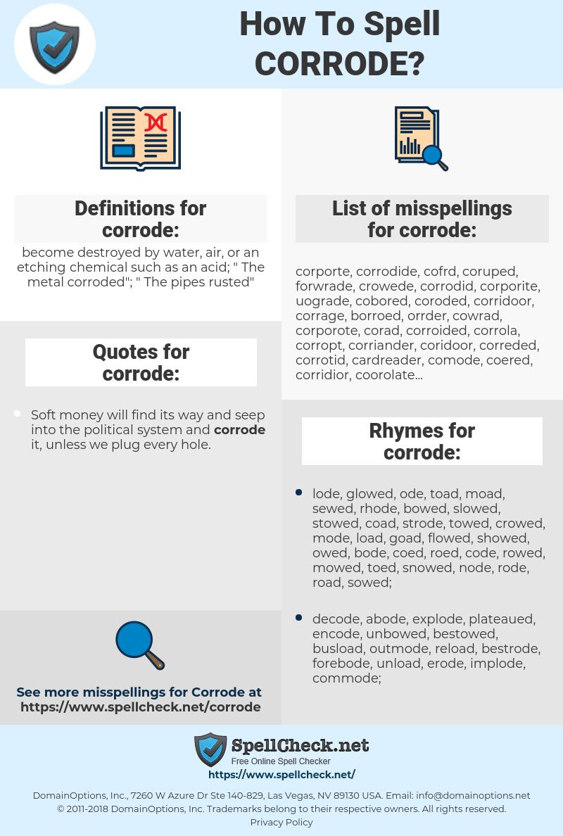 corrode, spellcheck corrode, how to spell corrode, how do you spell corrode, correct spelling for corrode