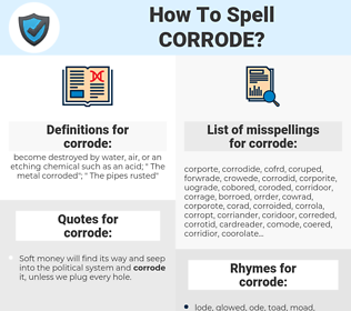 corrode, spellcheck corrode, how to spell corrode, how do you spell corrode, correct spelling for corrode
