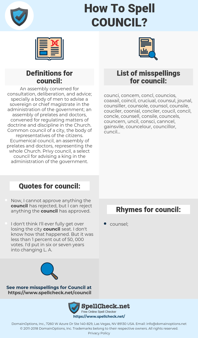 council, spellcheck council, how to spell council, how do you spell council, correct spelling for council