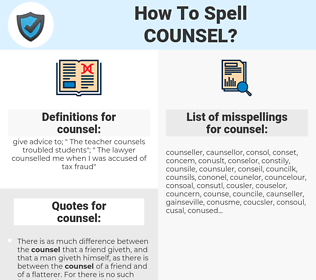 counsel, spellcheck counsel, how to spell counsel, how do you spell counsel, correct spelling for counsel