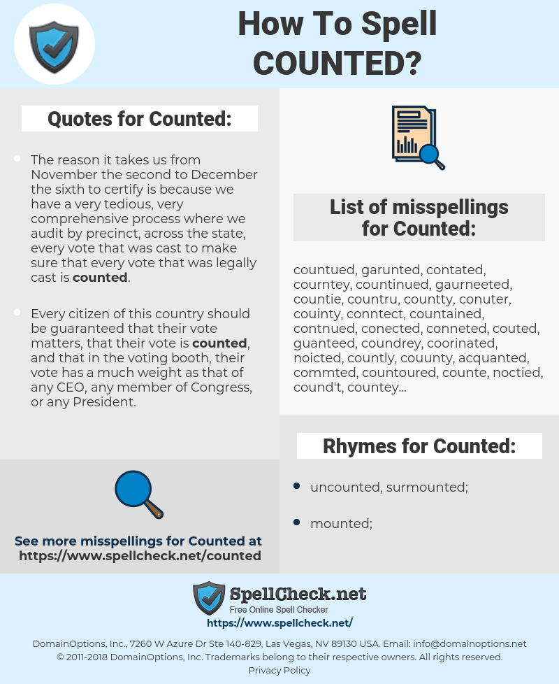 Counted, spellcheck Counted, how to spell Counted, how do you spell Counted, correct spelling for Counted