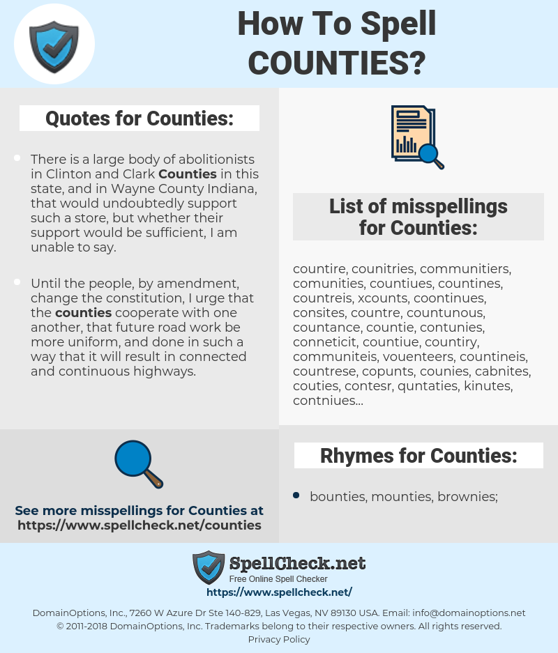 Counties, spellcheck Counties, how to spell Counties, how do you spell Counties, correct spelling for Counties
