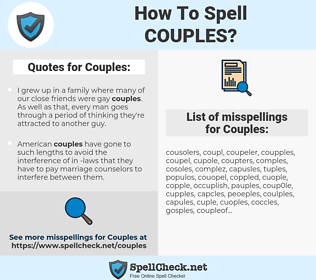 Couples, spellcheck Couples, how to spell Couples, how do you spell Couples, correct spelling for Couples