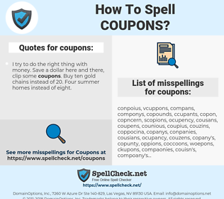 coupons, spellcheck coupons, how to spell coupons, how do you spell coupons, correct spelling for coupons
