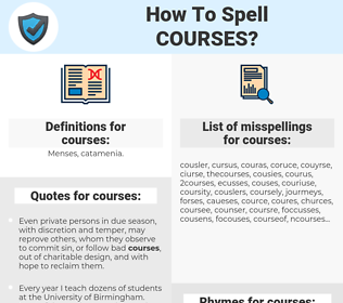 courses, spellcheck courses, how to spell courses, how do you spell courses, correct spelling for courses