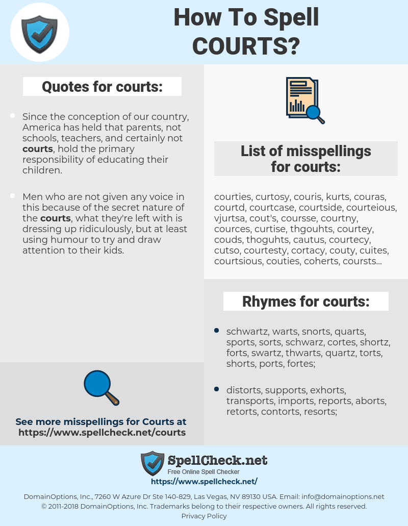 courts, spellcheck courts, how to spell courts, how do you spell courts, correct spelling for courts