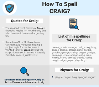 Craig, spellcheck Craig, how to spell Craig, how do you spell Craig, correct spelling for Craig