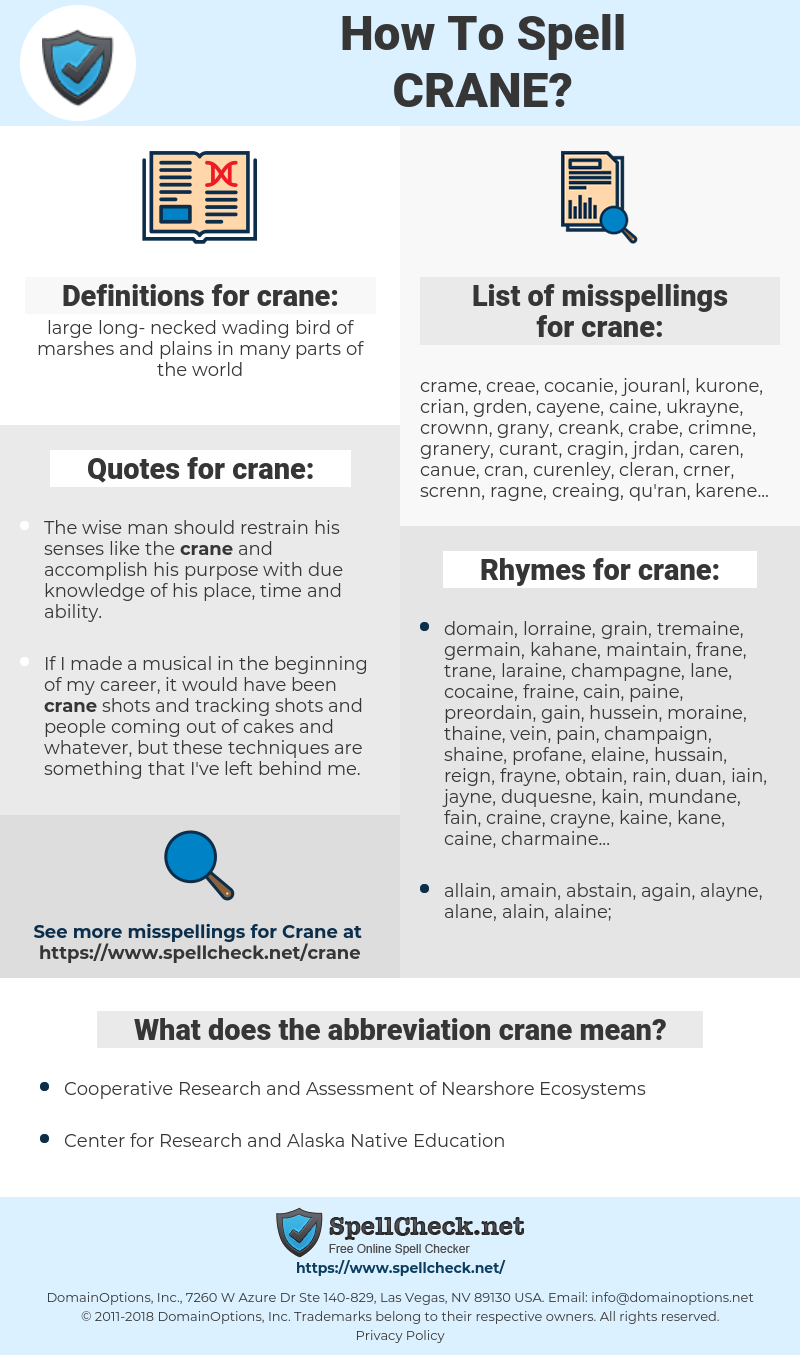 How To Spell Crane (And How To Misspell It Too) | Spellcheck net