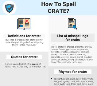 crate, spellcheck crate, how to spell crate, how do you spell crate, correct spelling for crate