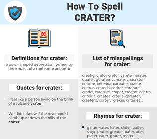 crater, spellcheck crater, how to spell crater, how do you spell crater, correct spelling for crater