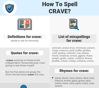 crave, spellcheck crave, how to spell crave, how do you spell crave, correct spelling for crave