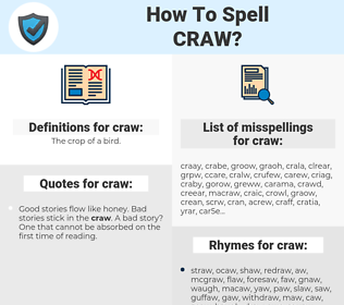 craw, spellcheck craw, how to spell craw, how do you spell craw, correct spelling for craw