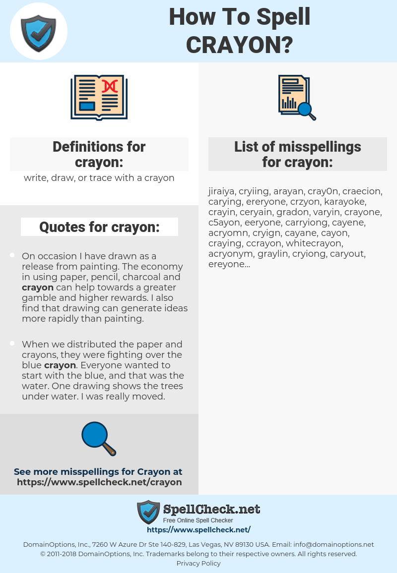 crayon, spellcheck crayon, how to spell crayon, how do you spell crayon, correct spelling for crayon