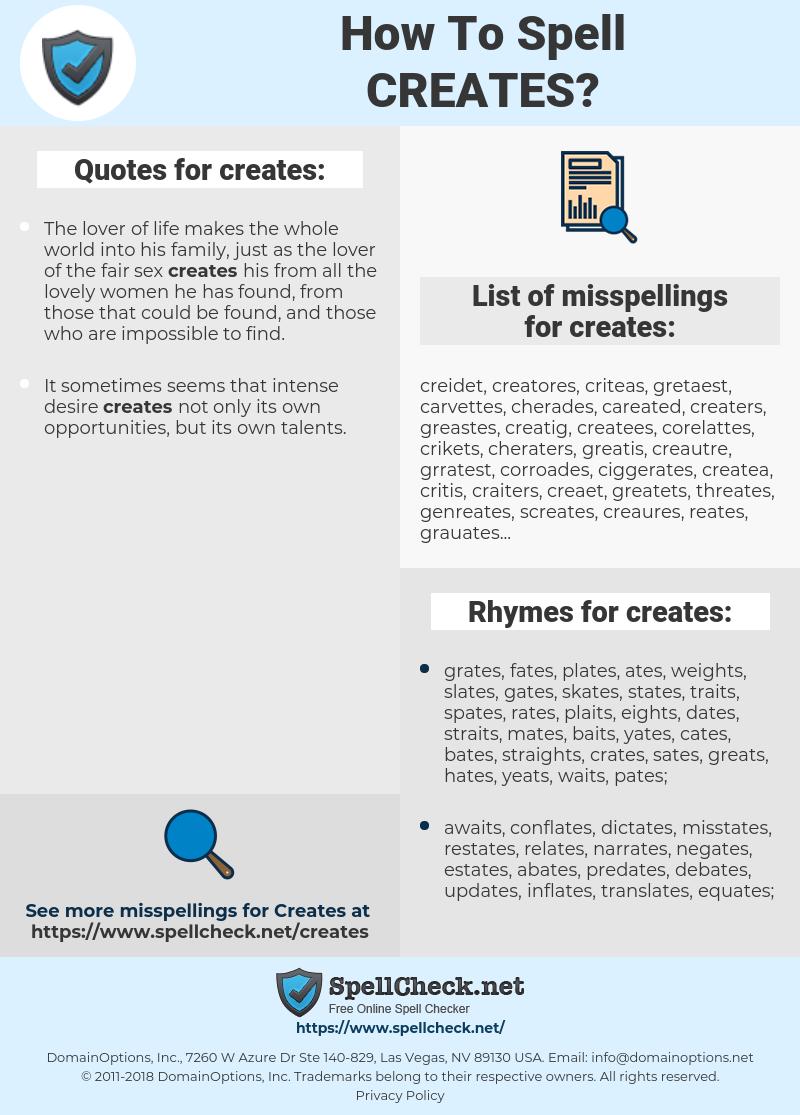 creates, spellcheck creates, how to spell creates, how do you spell creates, correct spelling for creates