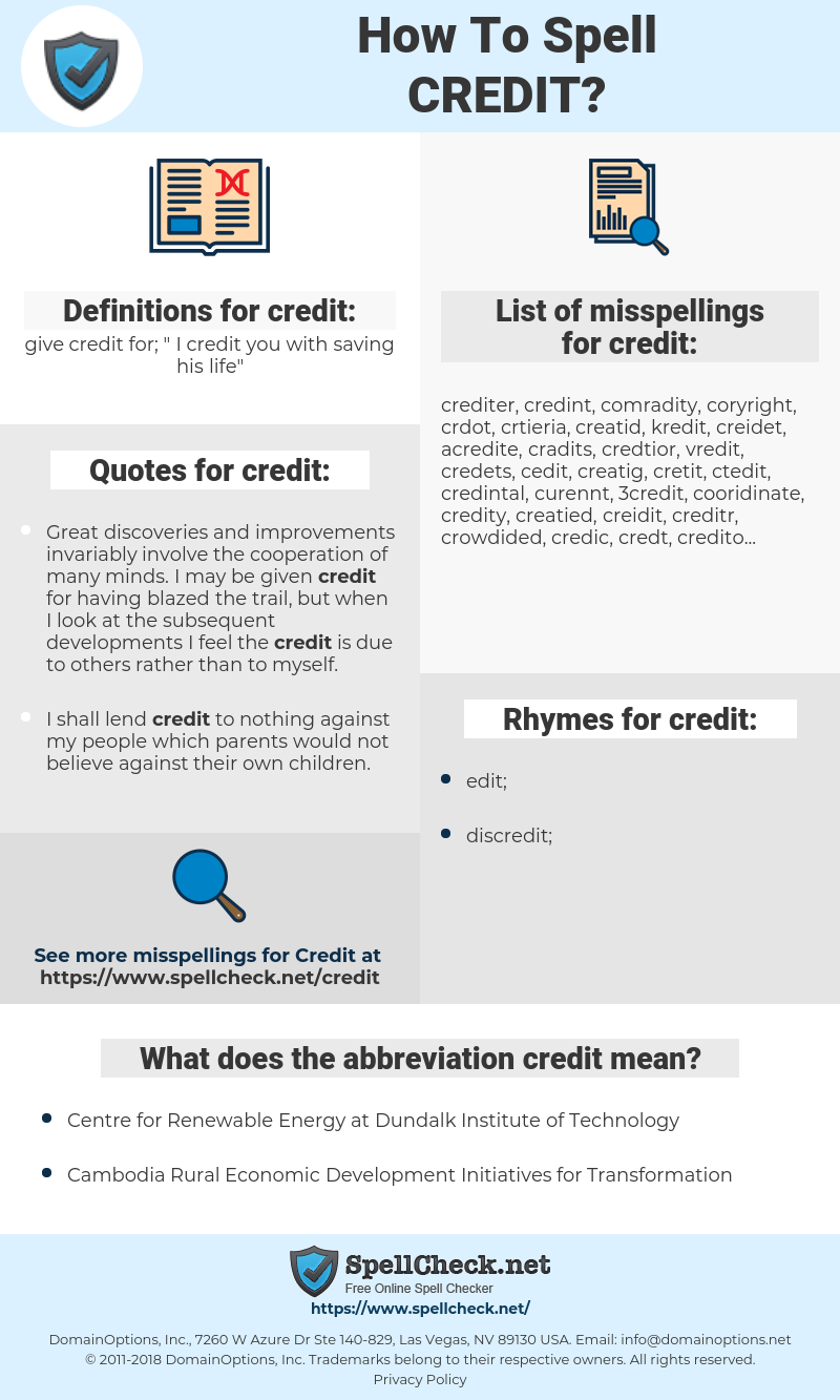 credit, spellcheck credit, how to spell credit, how do you spell credit, correct spelling for credit