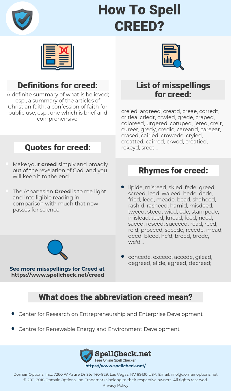 creed, spellcheck creed, how to spell creed, how do you spell creed, correct spelling for creed