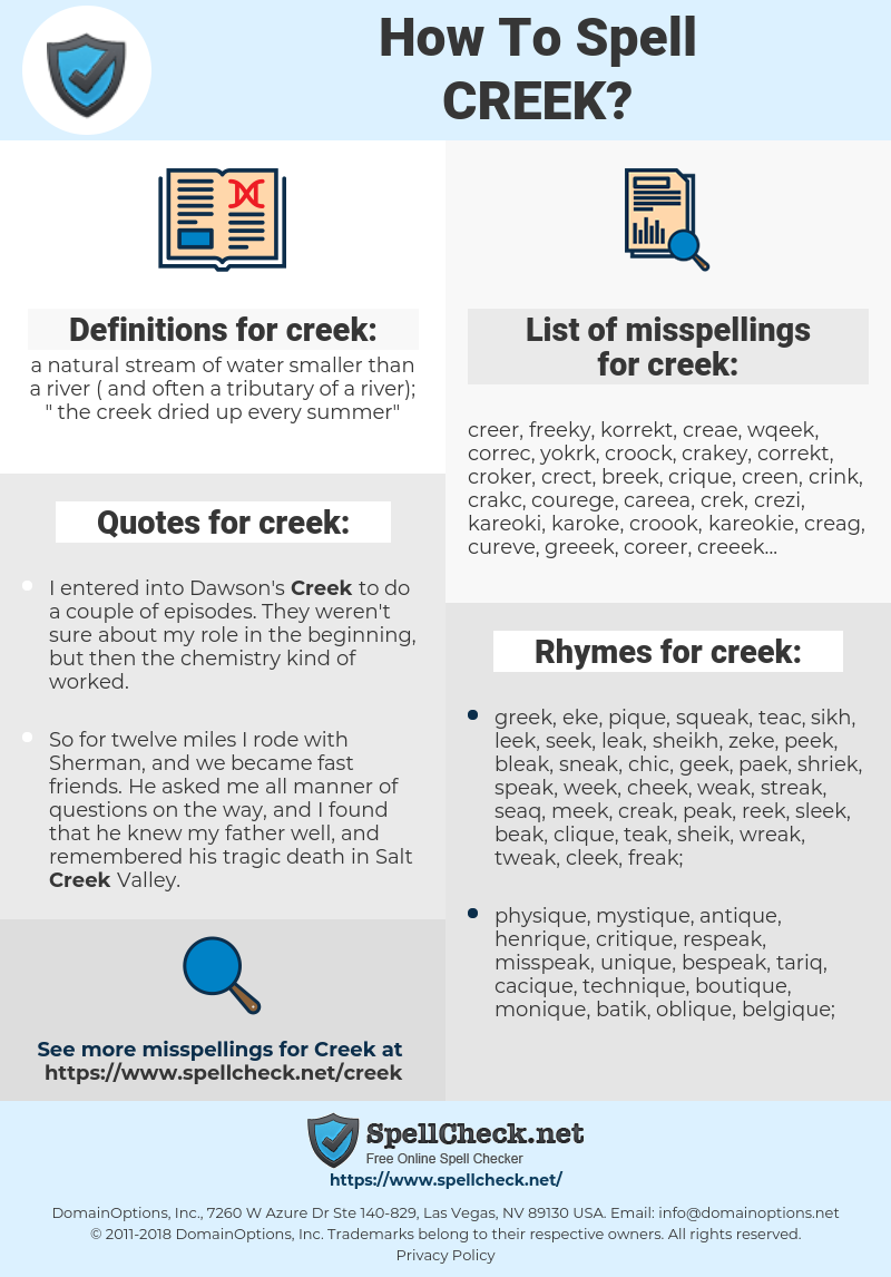 creek, spellcheck creek, how to spell creek, how do you spell creek, correct spelling for creek