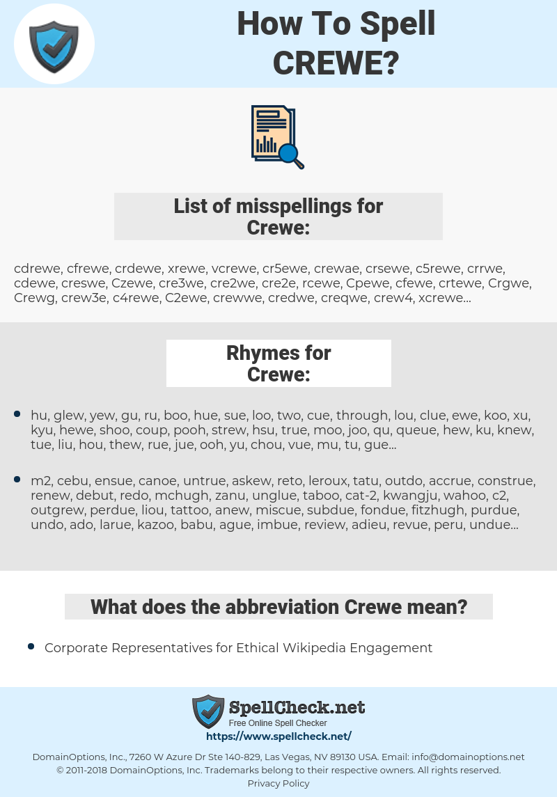 Crewe, spellcheck Crewe, how to spell Crewe, how do you spell Crewe, correct spelling for Crewe