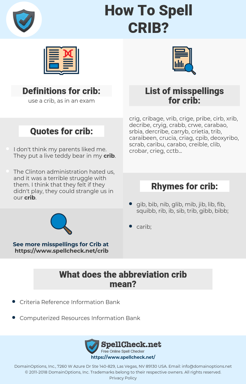 crib, spellcheck crib, how to spell crib, how do you spell crib, correct spelling for crib