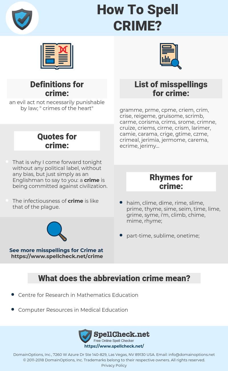 crime, spellcheck crime, how to spell crime, how do you spell crime, correct spelling for crime