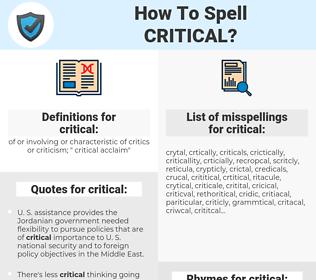 critical, spellcheck critical, how to spell critical, how do you spell critical, correct spelling for critical
