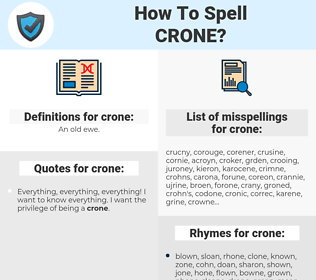 crone, spellcheck crone, how to spell crone, how do you spell crone, correct spelling for crone