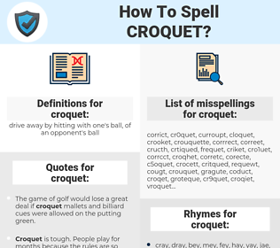 croquet, spellcheck croquet, how to spell croquet, how do you spell croquet, correct spelling for croquet